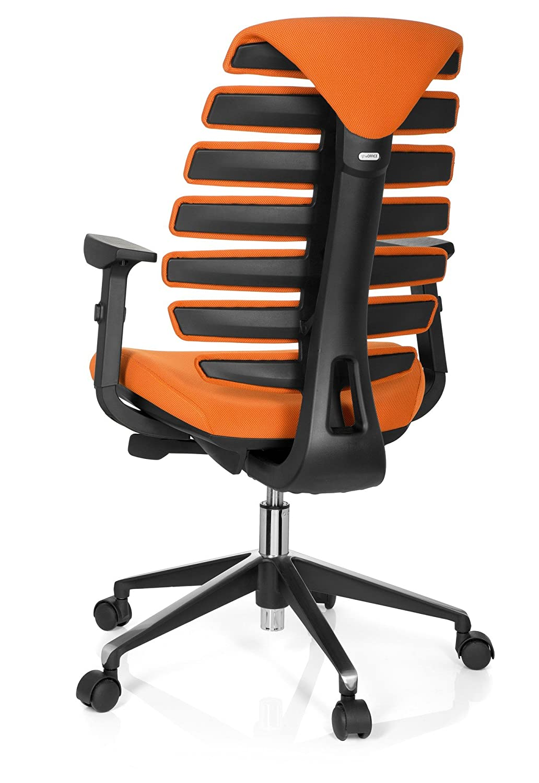 hjh OFFICE Ergo Line II Silla de Oficina operativa, Tela, Naranja, 50.00x59.00x115.00 cm