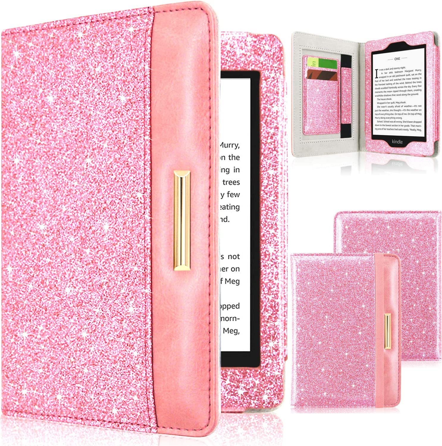 DMLuna Case for Kindle Paperwhite(Fits All-New 10th Generation 2018 / All Paperwhite Generations), Folio Premium PU Leather Case Auto Wake Sleep Cover with Hand Strap and Card Slot, Glitter Pink