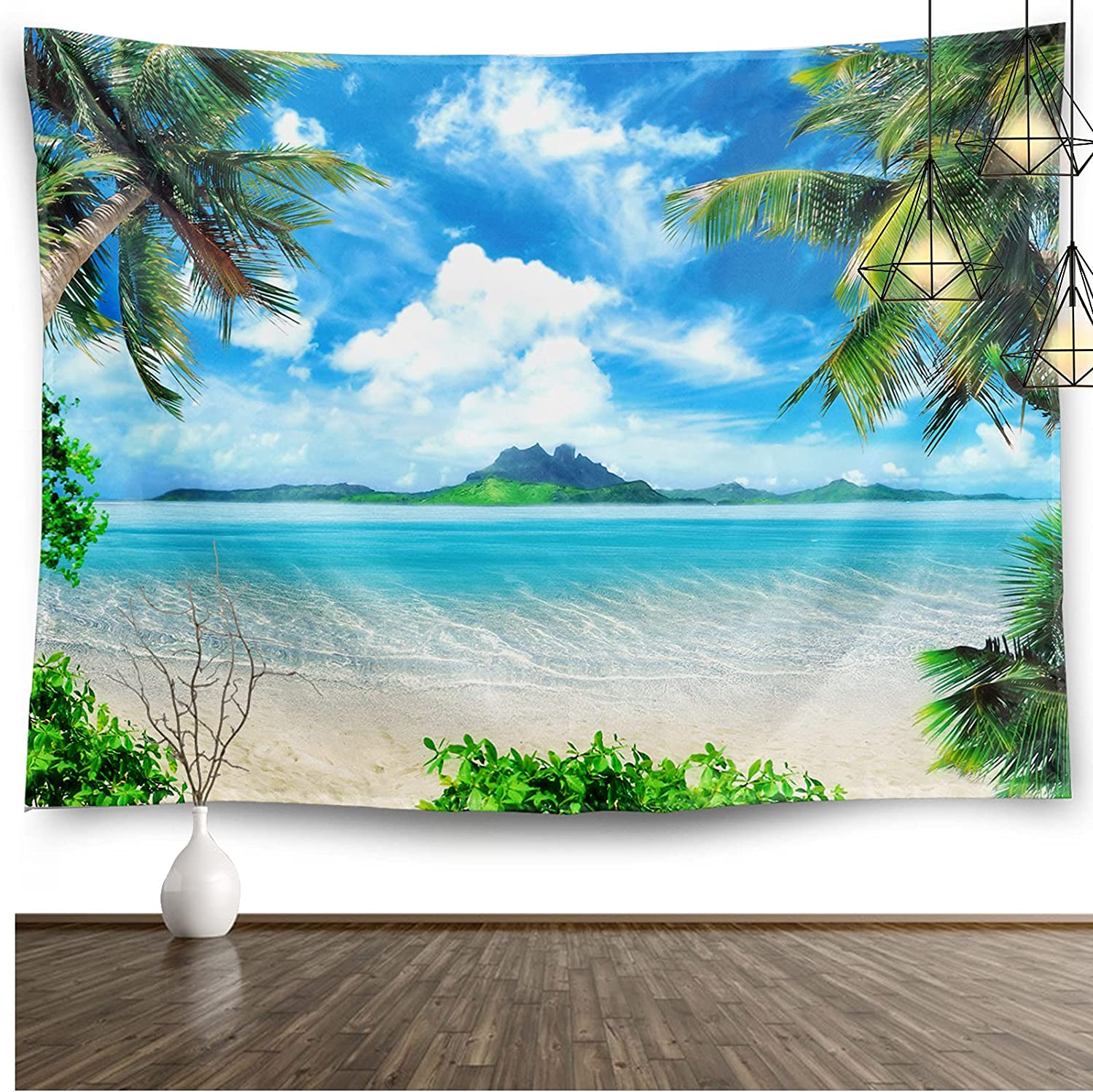 Ocean Beach Tapestry Home Decor Hawaii Tropic Palm Coconut Tree Small Wall Hanging Art Blanket for Living Room Bedroom College Dorm Office Aesthetic Decor(60
