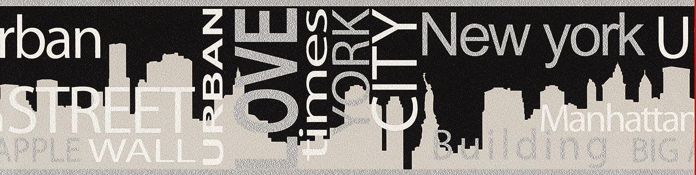 A.S. Cré ation Bordü re Boys & Girls Papier New York City 5, 00 m x 0, 13 m grau metallic schwarz Made in Germany atmungsaktiv feuchtigkeitsregulierend umweltfreundlich 935671 93567-1 A.S. Creation