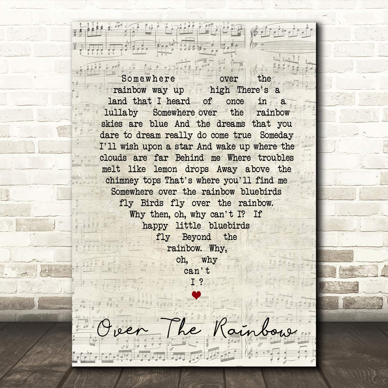 Somewhere Over The Rainbow Script Heart Song Lyric Quote Wall Art Gift Print