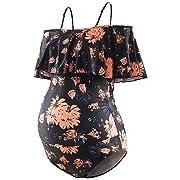 GINKANA Maternity Bikinis Tankini Floral Flouncing One Piece Swimsuit Pregnancy Beachwear