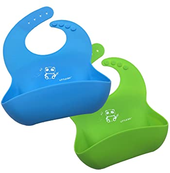 4c2fd075cb3 LITTLE Bot Catch-All Soft Silicone Bib - 2 Pack Green Blue Panda ...
