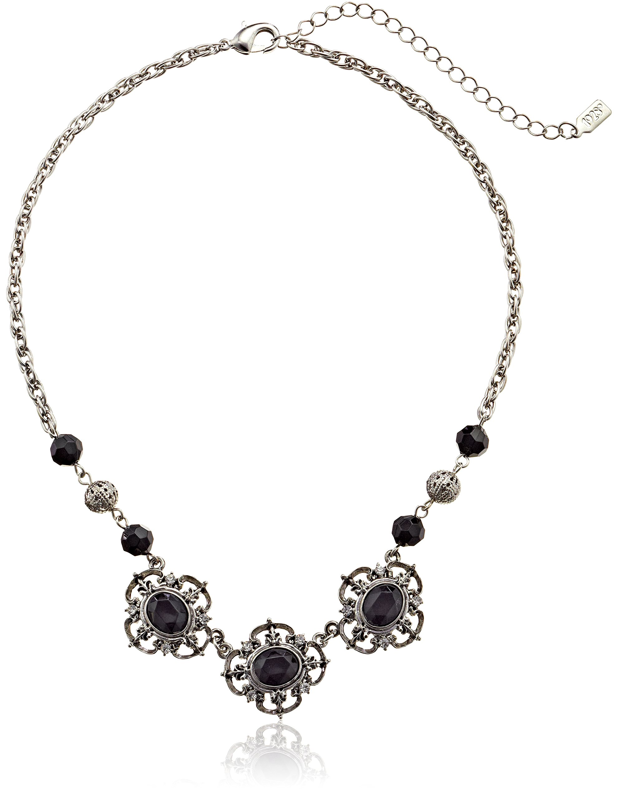 1928 Jewelry Jet Essentials Silver-Tone Jet and Crystal Collar Pendant Necklace, 16''