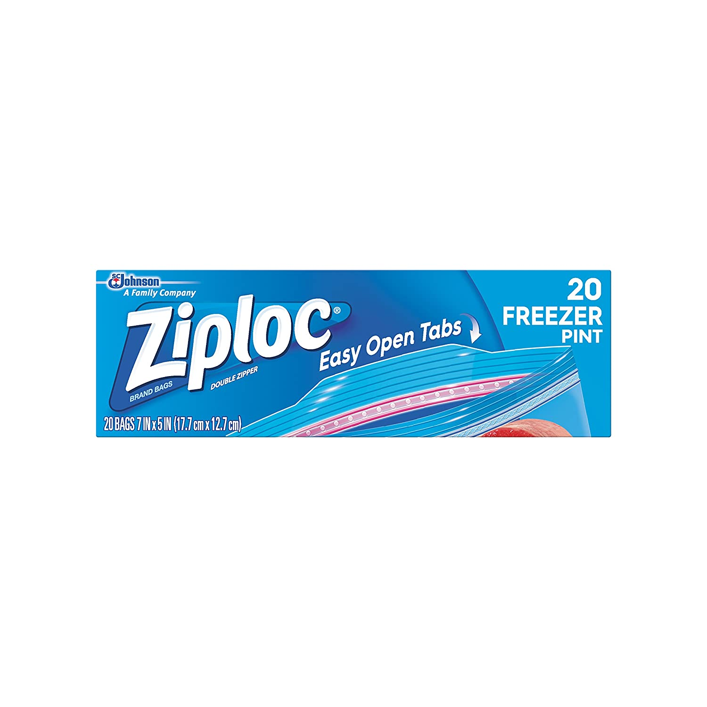 Ziploc Freezer Bags, Pint, 20 ct