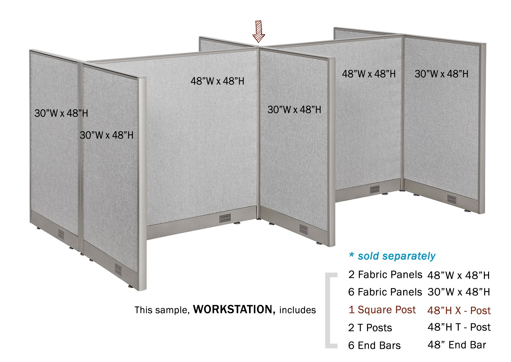 GOF Office Partition Custom Built Workstation Wall Office Divider (36w X 72h) by GOF (Image #8)