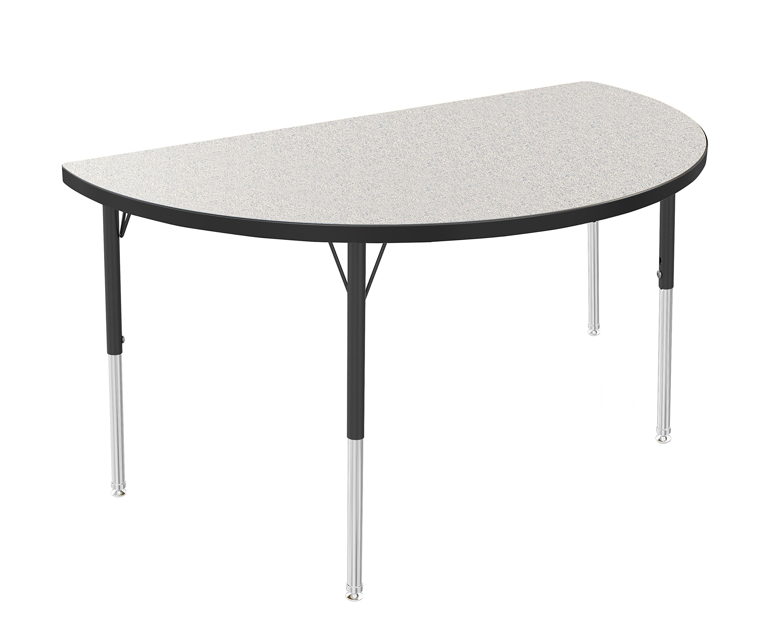 Marco Group Half Round Adjustable Activity Table, 48'' Length, Gray Glace, Black Trim, Standard Legs