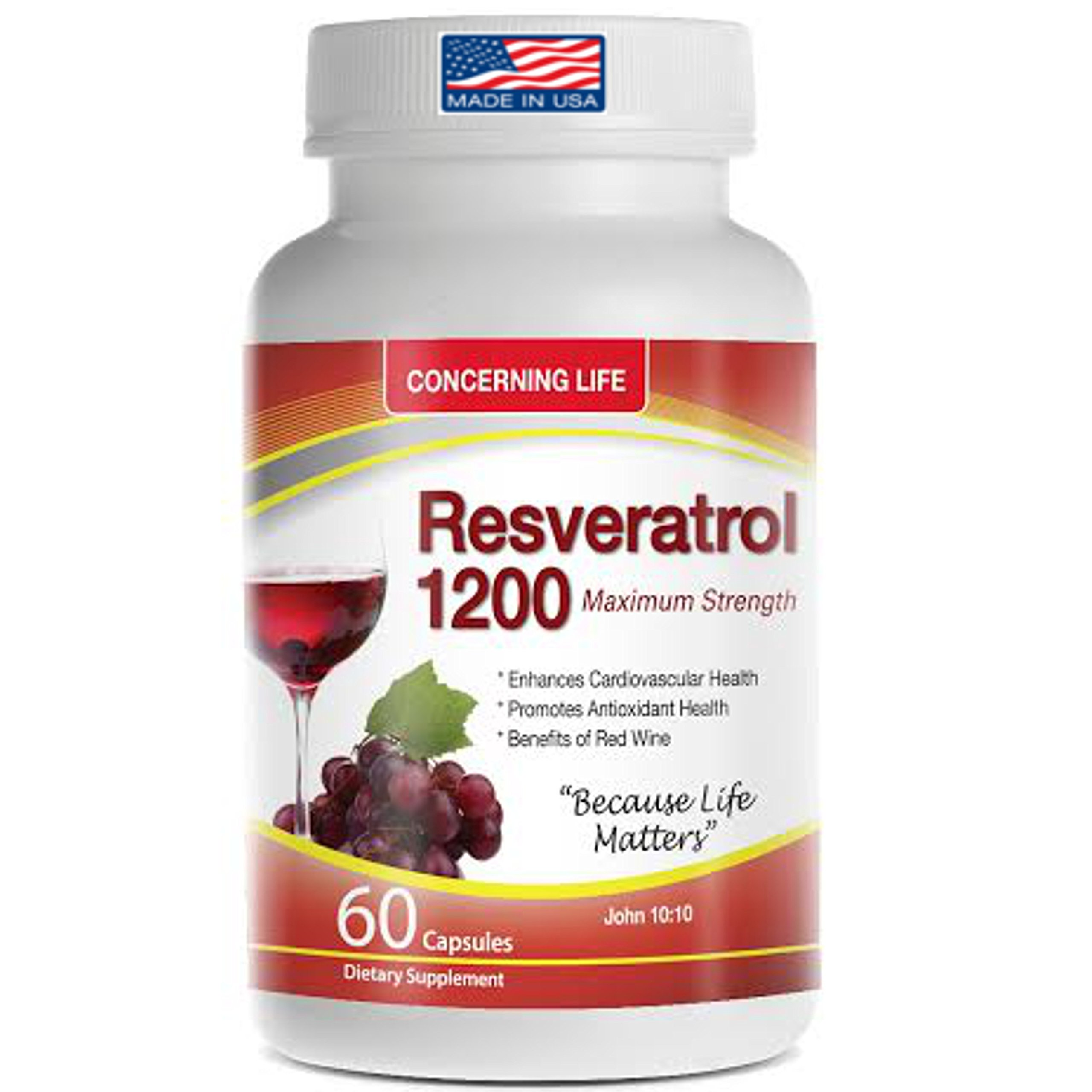 Resveratrol Supplement with Quercetin, Grape Seed Extract, Green Tea Resveratrol-1200mg 60 Capsules (1) by CONCERNING LIFE
