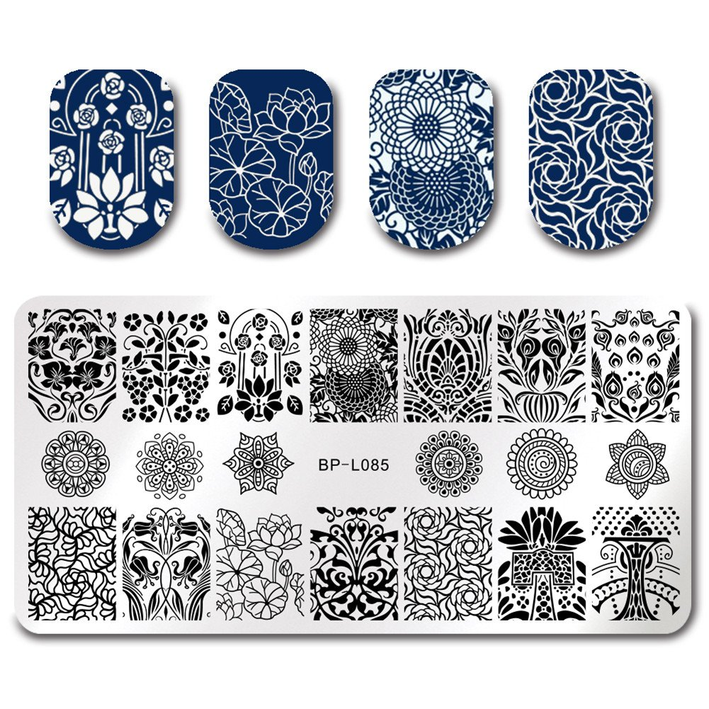BORN PRETTY 7Pcs Nail Art Stamping Template Flower Fruit Summer Manicure Print DIY Image Plate with Stamper Kit by Born Pretty (Image #3)