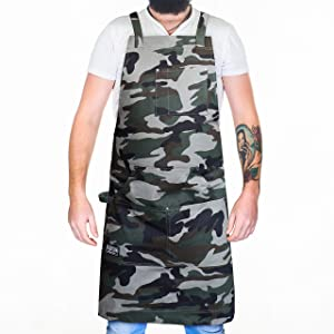 Hudson Durable Goods - Professional Grade Chef Apron for Kitchen, BBQ, and Grill (Camouflage) with Towel Loop + Tool Pockets + Quick Release Buckle, Adjustable M to XXL