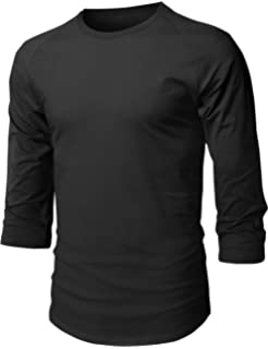 10fed8d8 Hat and Beyond Mens Baseball Raglan 3/4 Sleeve Plain Casual Tee Basic  Active T
