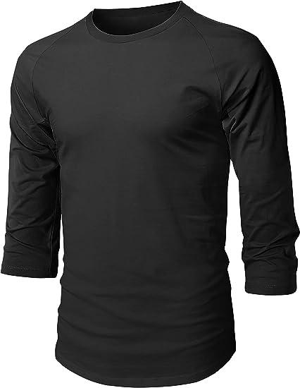 Men 3//4 Sleeve T Shirts 80/% Cotton,20/% Polyester Classic Lightweight