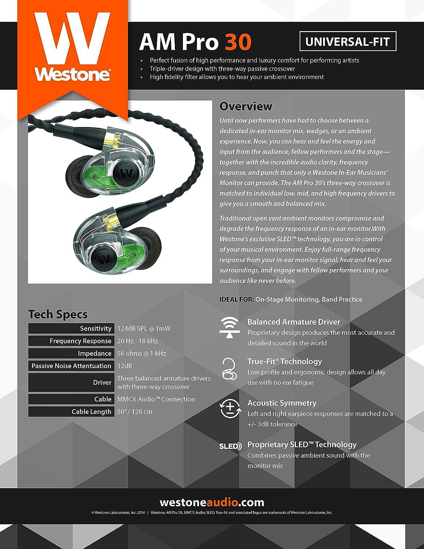 Westone UM Pro30 High Performance Triple Driver Universal Fit  Earphones-Green, 78394, Pro 30