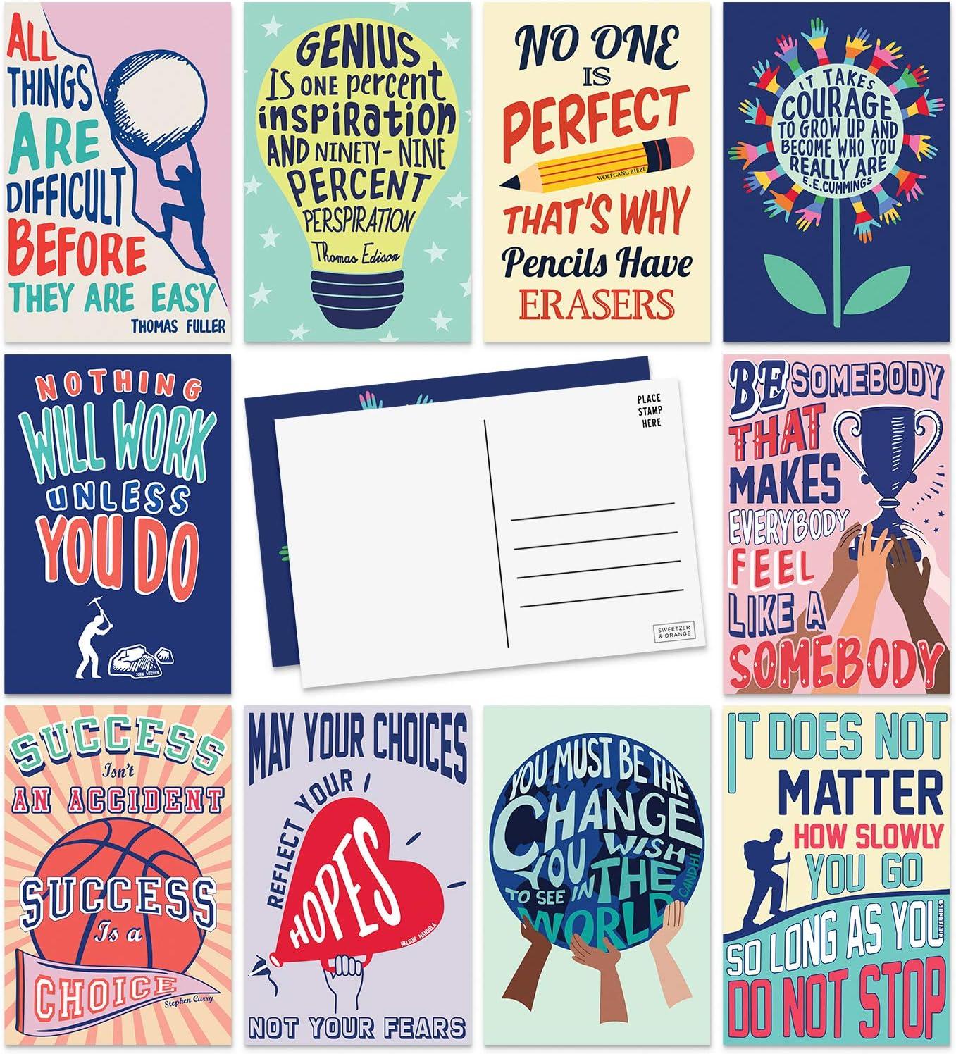 Sweetzer & Orange Motivational Postcards Pack (60 Post Cards) 4x6 Postcards for Kids and Adults. Growth Mindset Affirmation Cards, Mindfulness Cards, Inspiration Cards and Blank Encouragement Cards