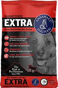 Annamaet Original Extra Formula Dry Dog Food, 26% Protein (Chicken & Brown Rice)