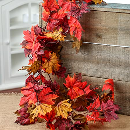 Factory Direct Craft Autumn Mix Artificial Maple Leaf Garland Fall Decoration