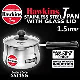 Hawkins SSTP15 Tea Pan Stainless Steel Induction Compatible Base Without Lid, 1.5L - Silver
