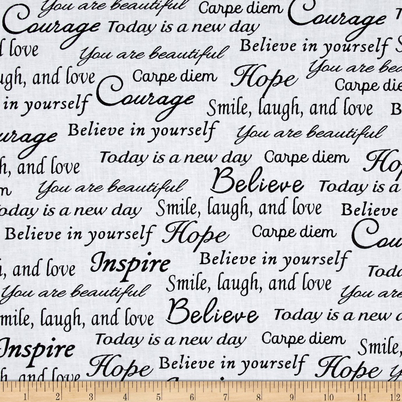 Windham Fabrics Sew Full 108in Wide Hope Words Black White Fabric by The Yard by Windham Fabrics (Image #1)