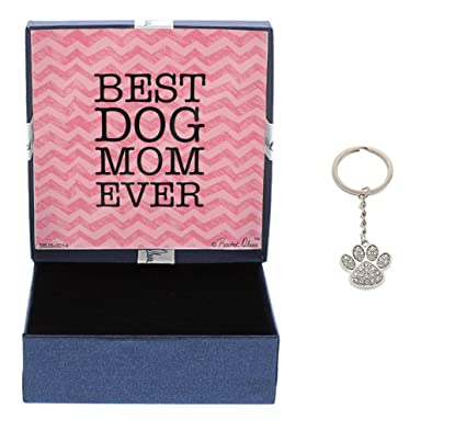 Mother S Day Gifts Best Dog Mom Ever Crystal Adorned Dog Paw Keychain Key Tag Gifts For Dog Lover Dog Keychain Gift Box Bundle Mothers Day Gift Idea