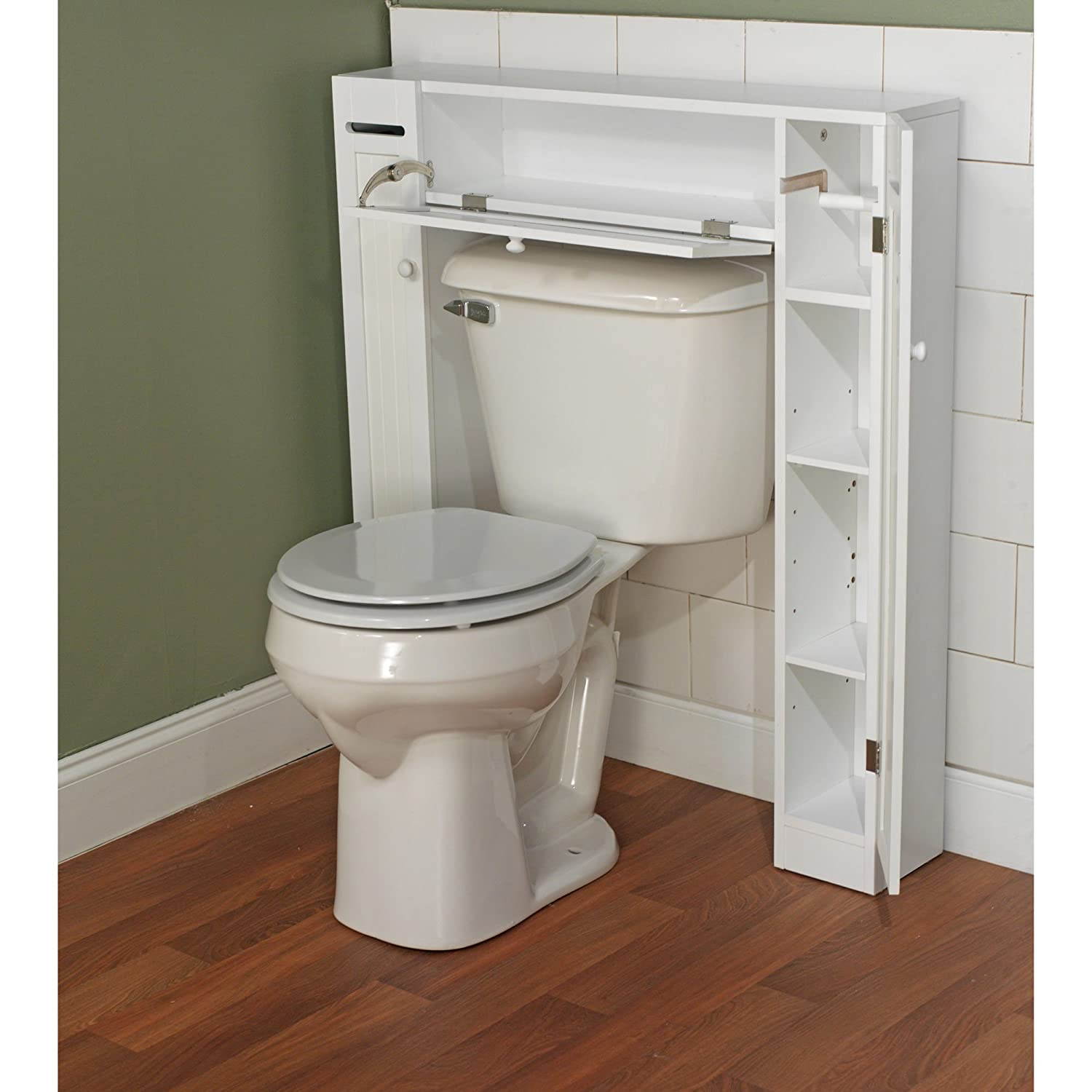 Bathroom cabinet space saver -  Over The Toilet Space Saver By Simple Living 1 Center Cabinet And 2 Side Cabinets In White Wood Material Gives Extra Storage For Every Bathroom