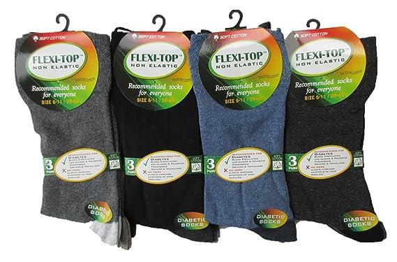 flexitop Mens black socks-diabetic socks-Gents gentle grip socks-soft top socks