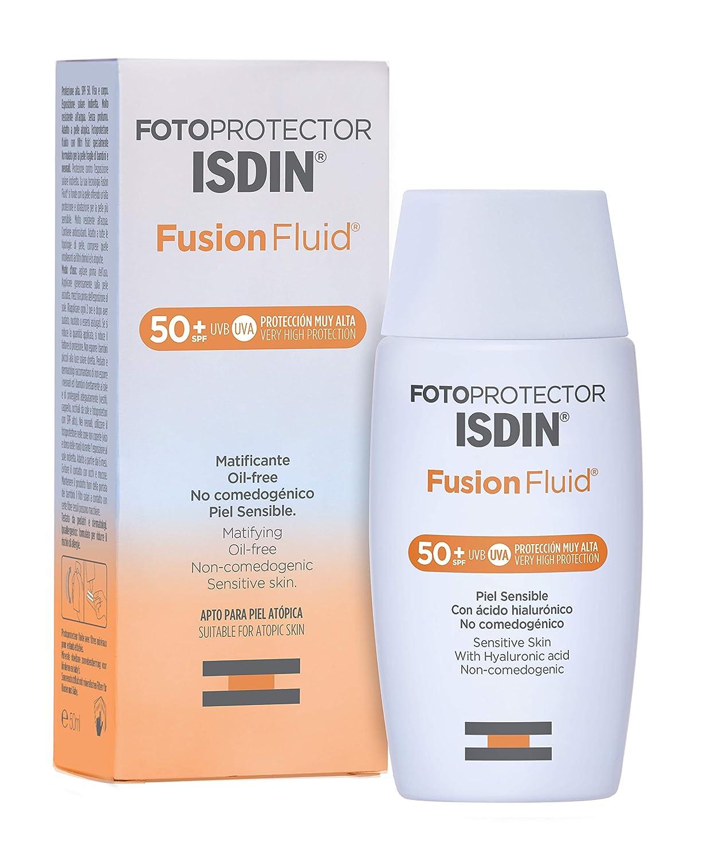 Fotoprotector ISDIN Fusion Fluid SPF 50+ - Protector solar facial, Matificante, Oil-free, No comedogenico, Apto para piel atópica, 50 ml