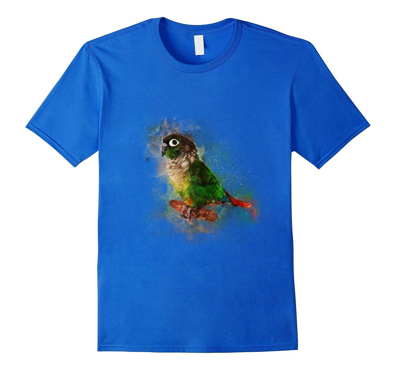 Watercolor Green Cheek Conure parrot T-Shirt-Rose
