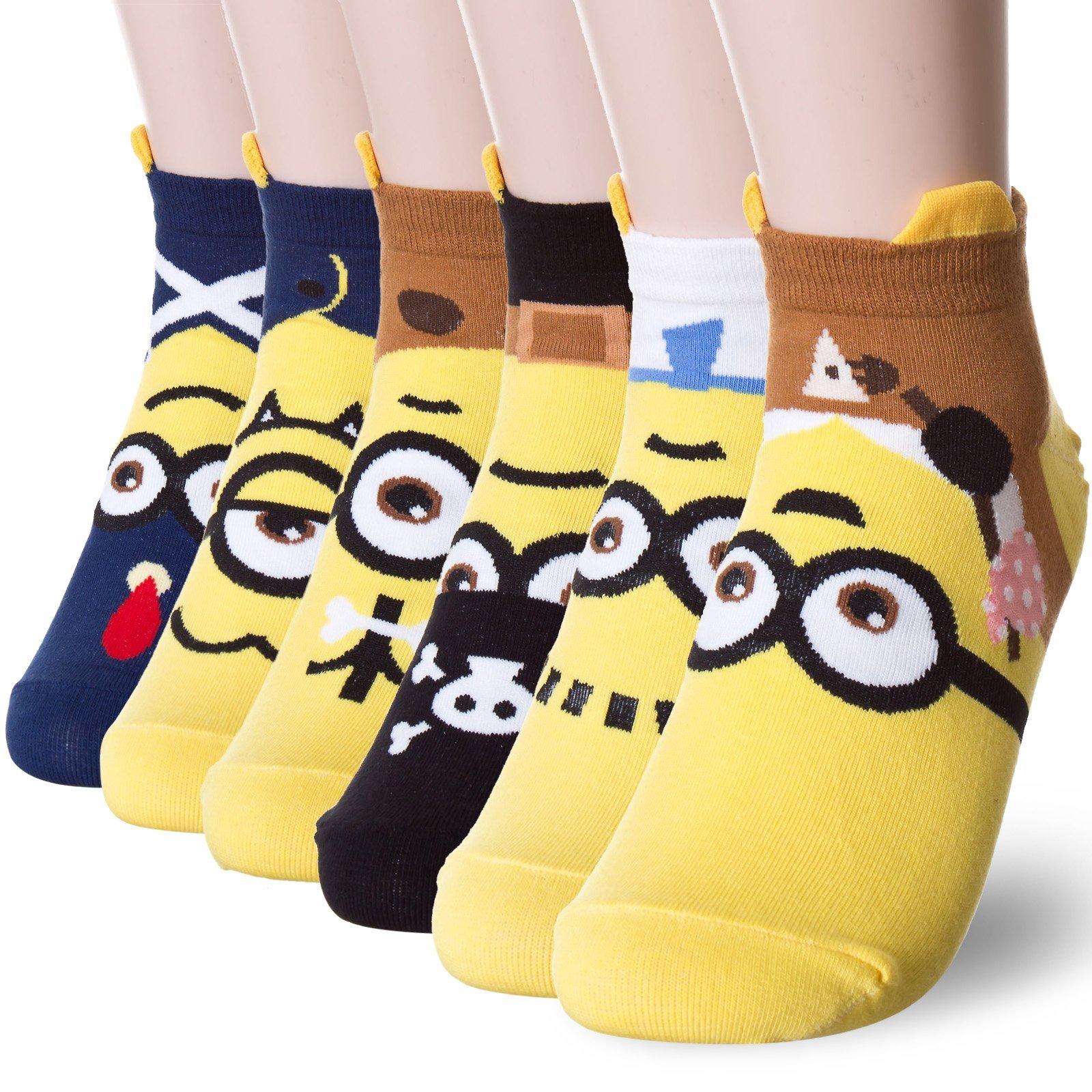 Popular Minions Character Socks (Onesize, 6 Pairs)