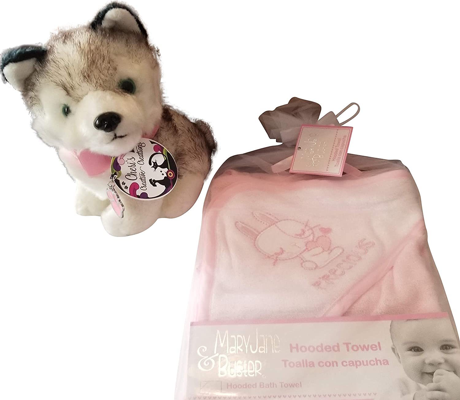 Amazon.com : Hooded Baby Bath TowellPink and White and Stuffed Husky Dog with Real Dog Colar : Baby