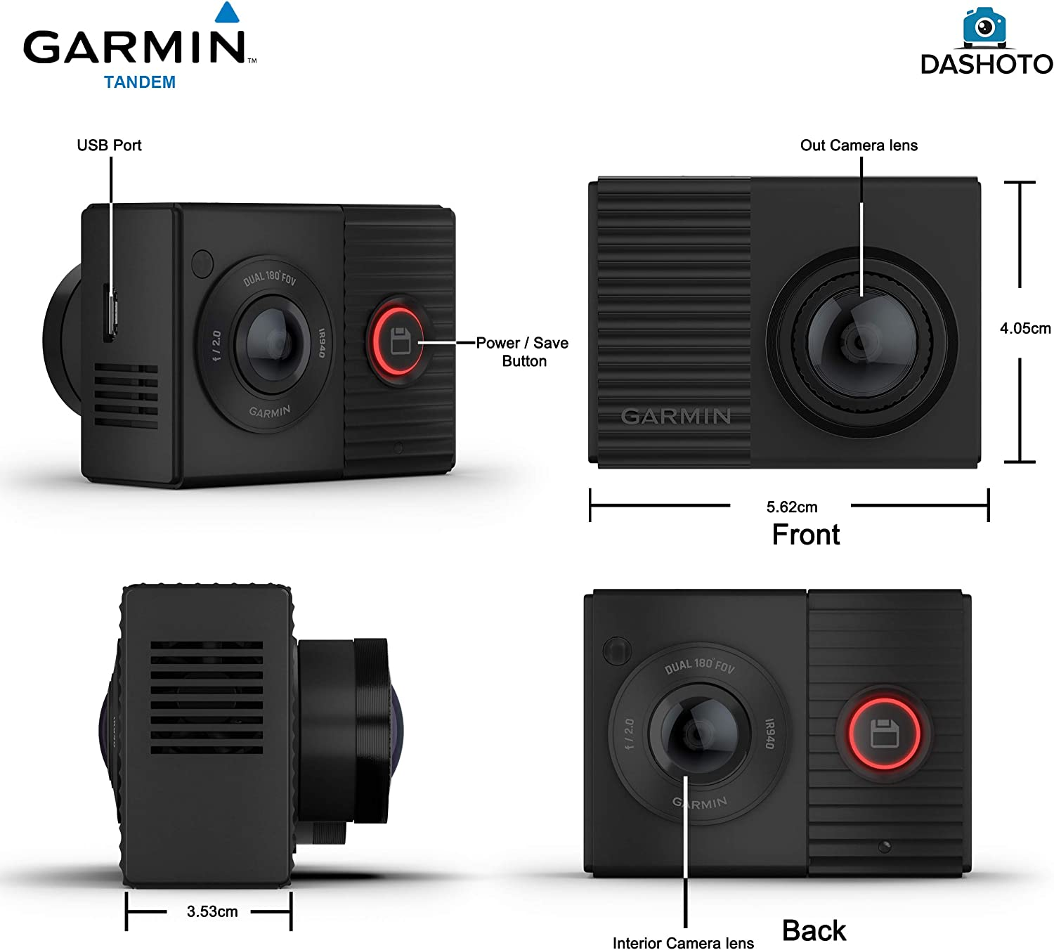 180 Degree Viewing Angle Dual Lens with Interior Night Vision Garmin Tandem Dash Cam Parking Mode Bundle Parking Mode Cable and Installation Kit Included