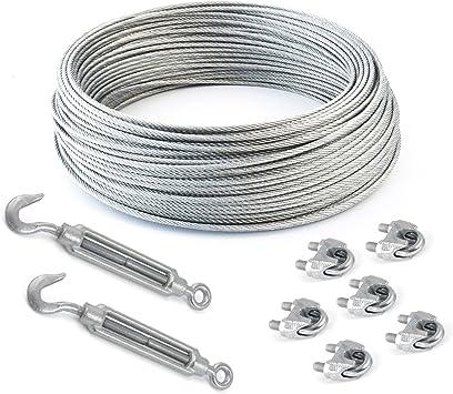Seilwerk STANKE 20m 2mm Drahtseil 6x7 verzinkt Stahlseil Forstseil DIN Windenseil Seil Draht Stahl
