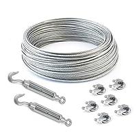 SET 25m câble acier galvanisé 6x7 4mm + 6 serre-câbles étrie et 2 tendeurs a cage crochet-oeil