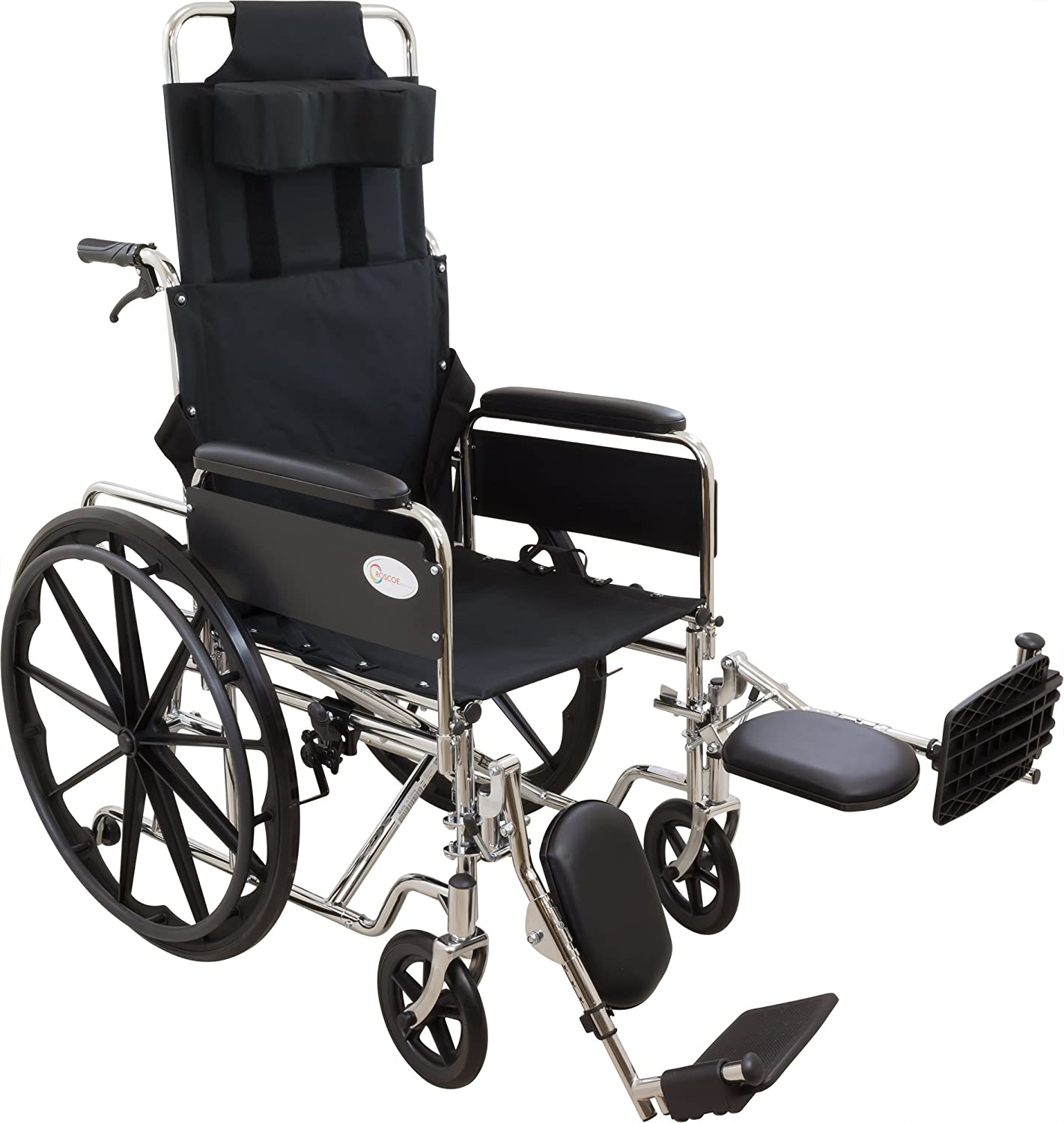 Roscoe Medical KR20E R-Series Reclining Wheelchair with Elevating Legrests, 20""