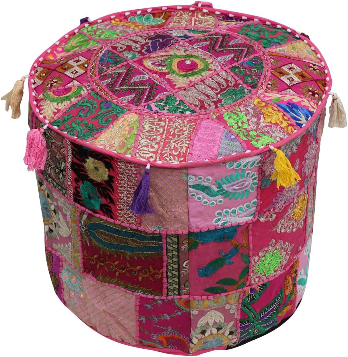 Southwest Decor Pouf – Moroccan Stool Pouf Ottoman 18.5 x 14 Inch Bohemian Traditional Vintage Foot Pouf Cover – Handmade Cotton Fabric – Patchwork on Pink Base
