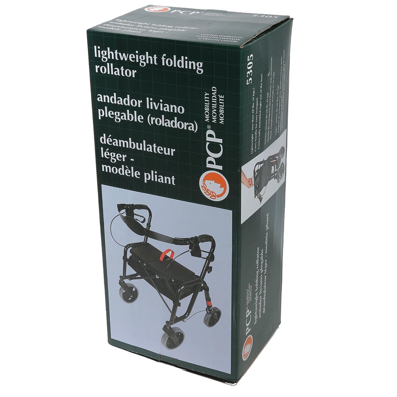 Amazon.com: PCP Lightweight Folding Rollator Walker, Black: Health & Personal Care