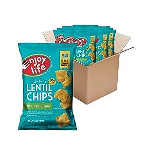 Enjoy Life Foods Thai Chili Lime Lentil Chips, Dairy Free Chips, Soy Free, Nut Free, Non GMO, Vegan, Gluten Free, 12 - 4 oz Bags