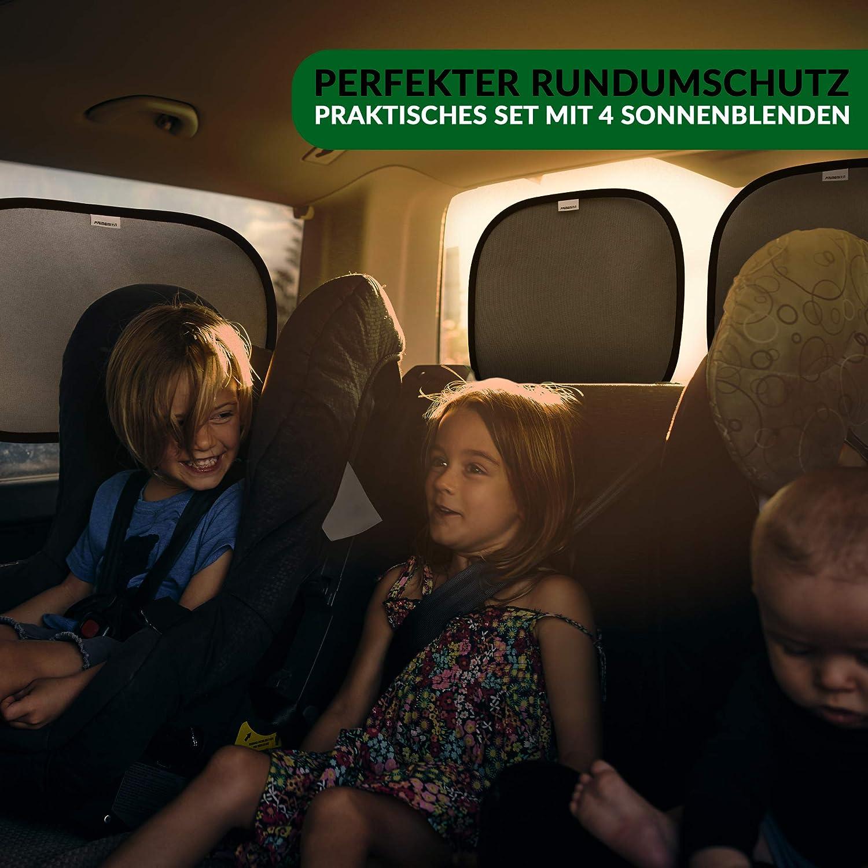 3 in 1 Primemion Hochwertige Auto-Sonnenblenden mit zertifiziertem UV-Schutz 55+ Auto-Sonnenschutz f/ür Baby und Kinder