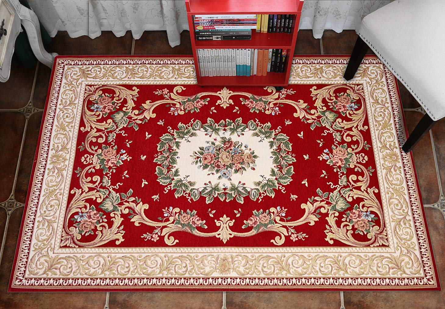 Vintage Floral Area Rugs 3x48,Hihome Non Slip Large Entryway Rug Washable Rug for Door Entrance Indoor Small Rug for Bedroom Office Chair Meeting Room 90x140cm