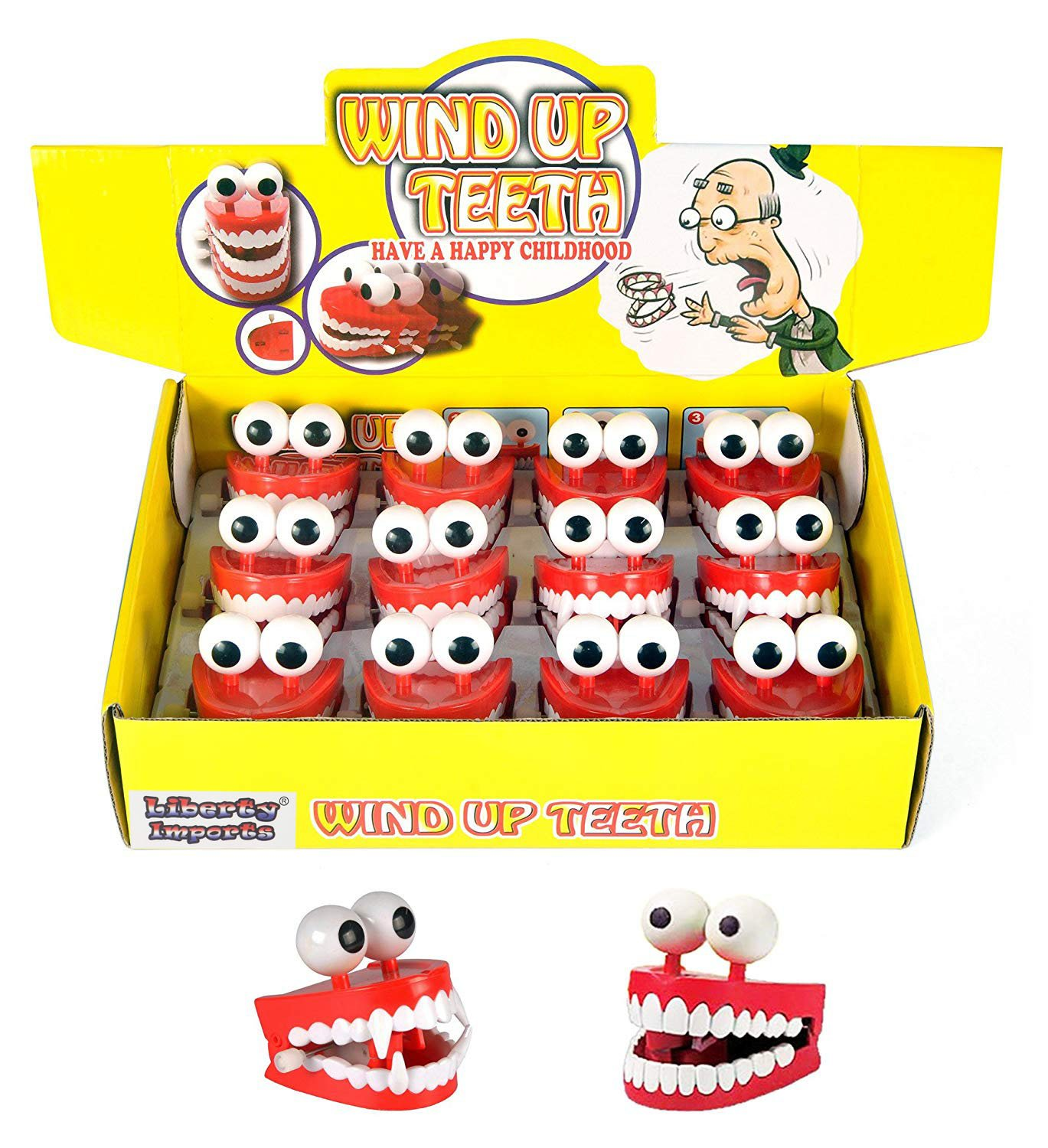 Liberty Imports 12 Pack Wind-up Chattering Chomping Walking Teeth with Eyes - Halloween Toy Novelty Party Favors Kids Gag Gifts (One Dozen - 6 Vampire + 6 Regular)