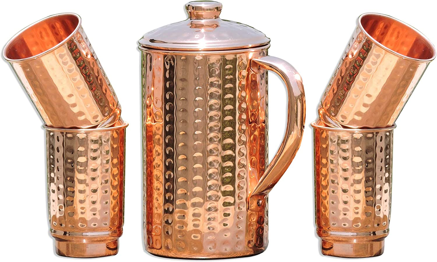 HealthGoodsIn - Pure Copper (99.74%) Hammered Pitcher with 4 Copper Tumblers | Hammered Copper Pitcher and Tumblers for Ayurveda Health Benefits