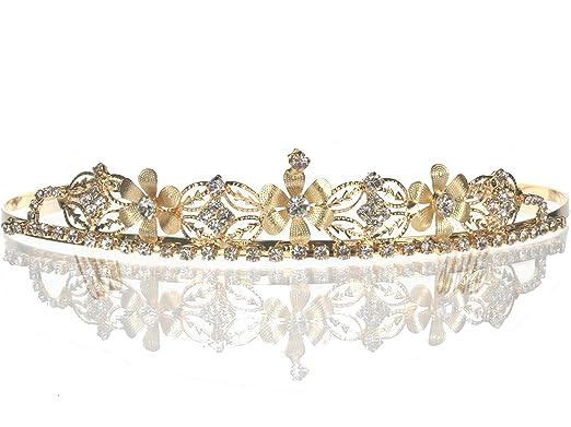 Bridal Wedding Tiara Crown With Gold Flowers 4652G5