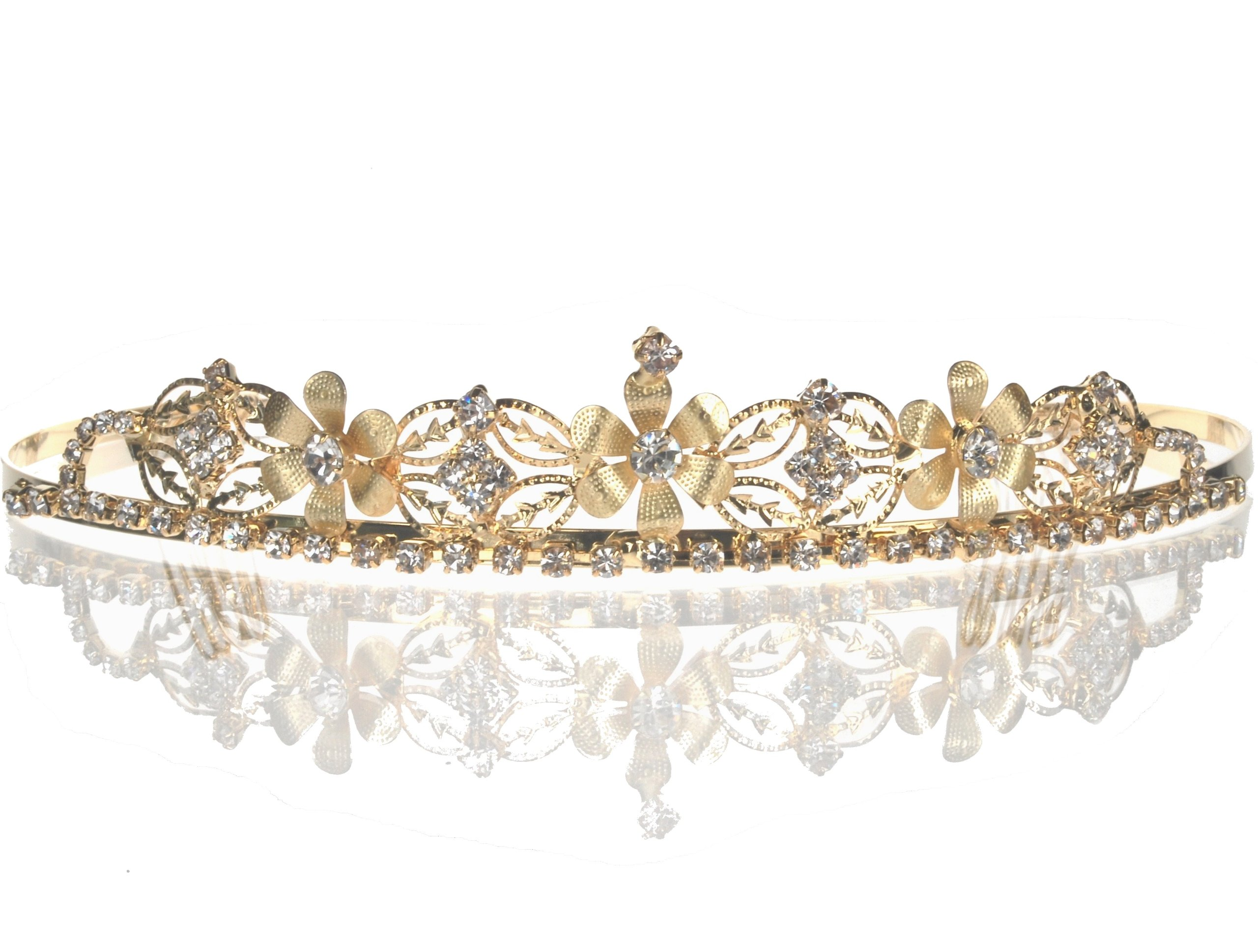 e3d597e4cadc07 Amazon.com: SC Gold Bridal Wedding Tiara With Heart and Round ...