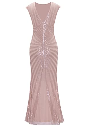 Metme Formal Evening Dress 1920s Sequin Mermaid Formal Long Flapper Gown Party: Amazon.co.uk: Clothing