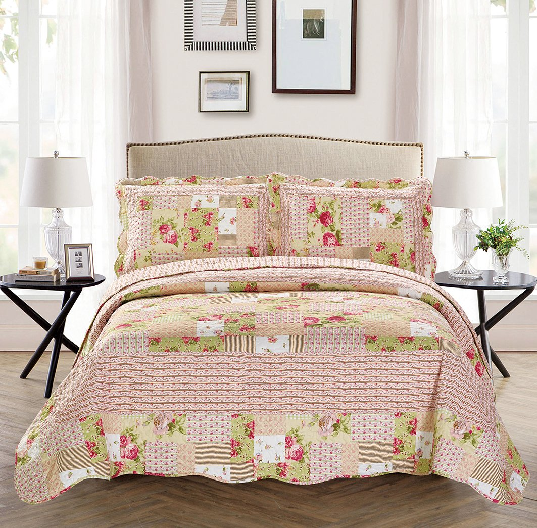 Fancy Collection 3pc Bedspread Bed Cover Pink Beige Green Flowers (Queen) COMINHKR099230