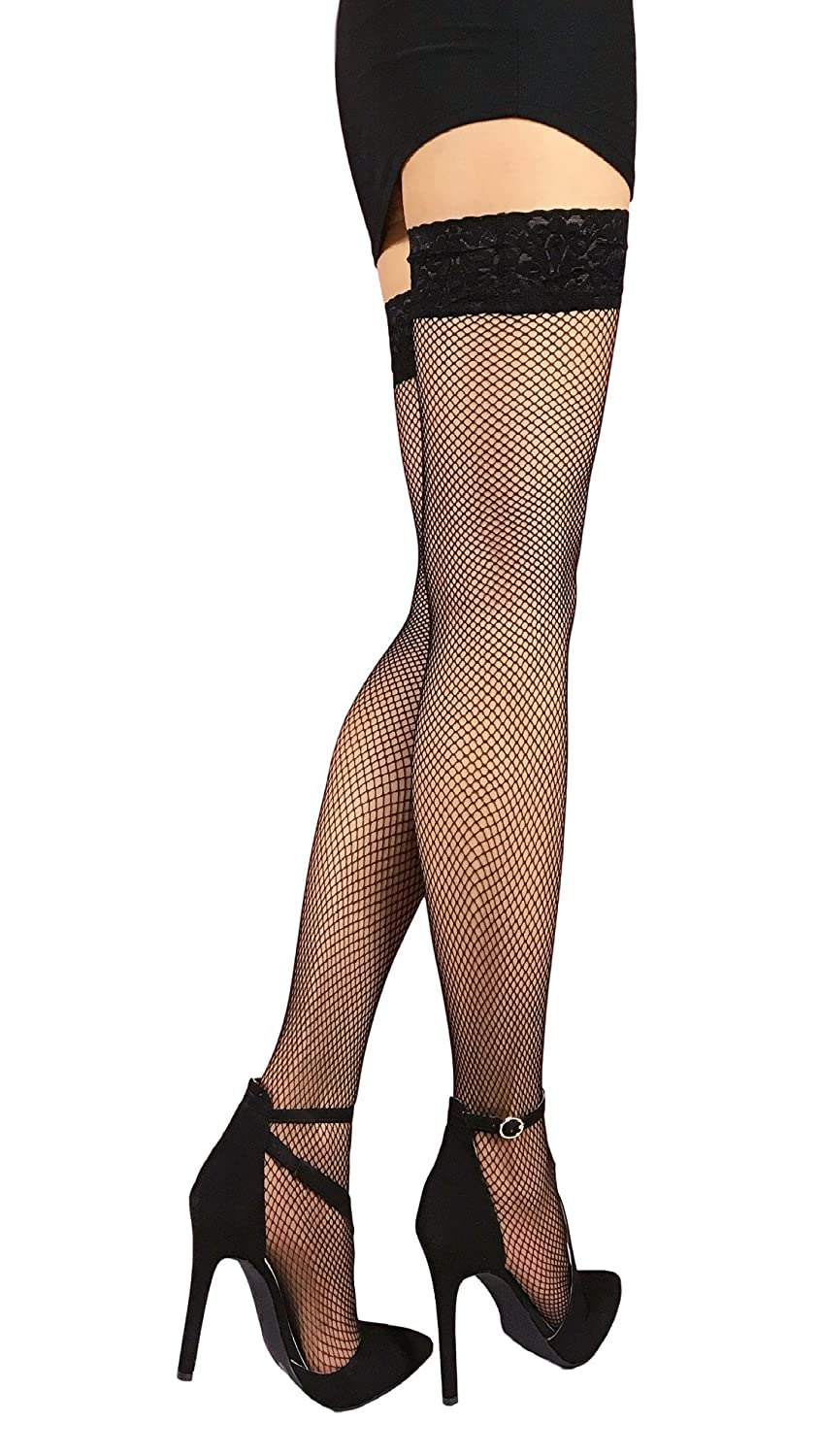 Fishnet Thigh High Silicone Lace Top Stay Up Nylon Stockings