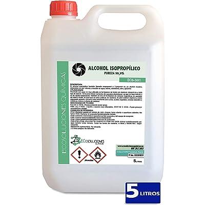 Ecosoluciones Químicas ECO-301 | 5 litros | Alcohol Isopropílico 99,9% Alta pureza IPA | Limpieza componentes electrónicos, Objetivos, Pantallas. Desengrasante. Desinfección y Limpieza Superficies
