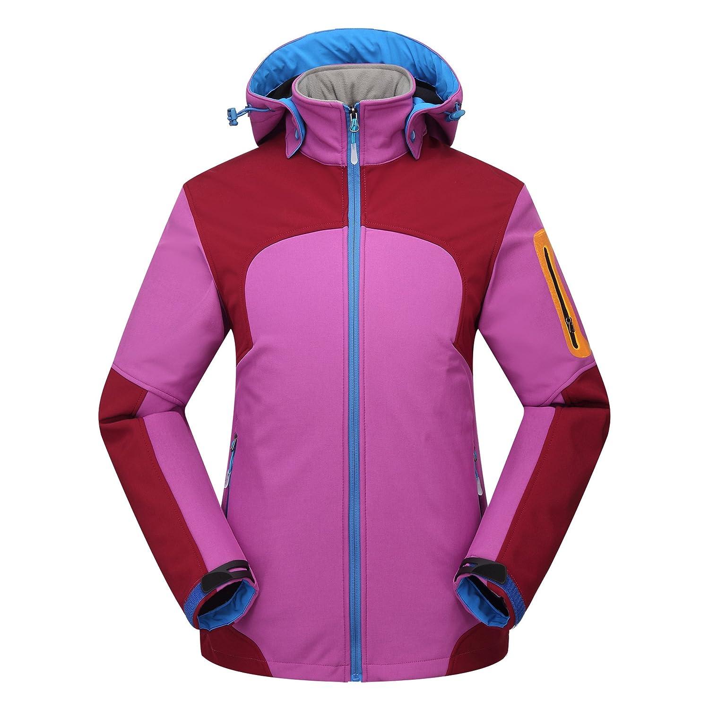 Rose rouge XXL FYM Vestes DYF Les Femmes Hommes Down veste Coat Hat Manches Longues Poche à glissière Chaud Ski