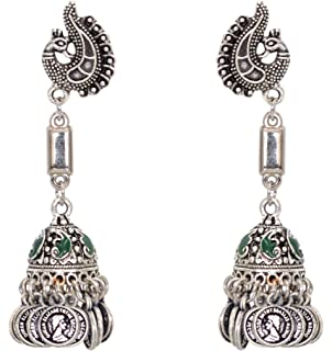Sansar India Oxidized Jogan Engraved Jhumka Indian Earrings Jewelry for Girls and Women 1480