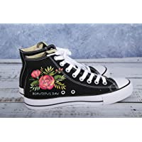 Hand Painted Shoes Canvas Sneakers Red Rose Buds-Women Vegan Shoes Floral-Round Toe