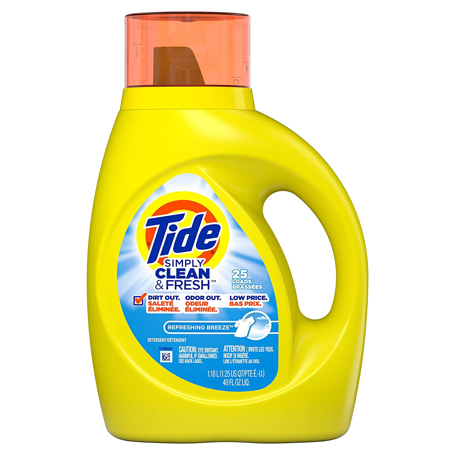Tide Simply Clean & Fresh Liquid Laundry Detergent, Refreshing Breeze, 40  Ounce